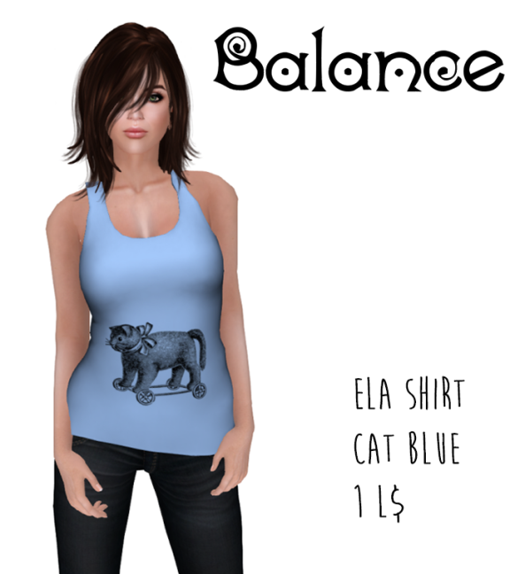 ela shirt cat blue